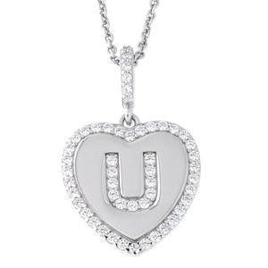 Letter U Initial Heart CZ Pendant Sterling Silver
